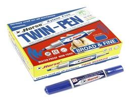 ST038 ปากกาเคมี 2 หัว ตราม้า สีน้ำเงิน,ดำ,แดง